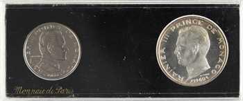 Monaco, Rainier III, coffret de deux essais, 1 et 5 francs, 1960 Paris