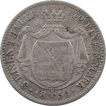 Allemagne, Saxe (royaume de), Frédéric-Auguste II, tiers de thaler, 1854 Stuttgart