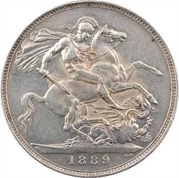 Royaume-Uni, Victoria, couronne (crown), 1889 Londres