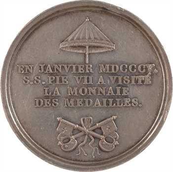 Premier Empire, Pie VII, visite à la Monnaie, transformée en médaille de mariage, 1805-1806 Paris
