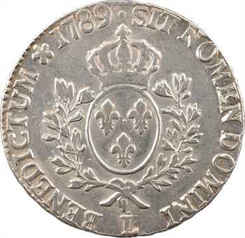 Louis XVI, écu aux branches d'olivier, 1789 Bayonne