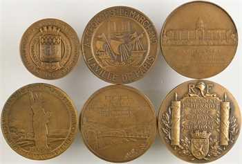 IIIe République, lot de 6 médailles de mandats de conseillers municipaux, par Bottée, Cogné, Pillet, Prud'homme, etc., 1925-1938 Paris
