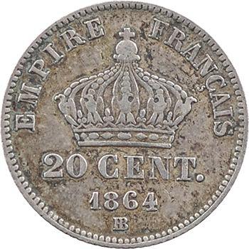 Second Empire, 20 centimes tête laurée petit module, 1864 Strasbourg