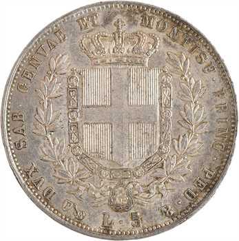 Italie, Savoie-Sardaigne, Victor-Emmanuel II, 5 lire, 1854 Gênes