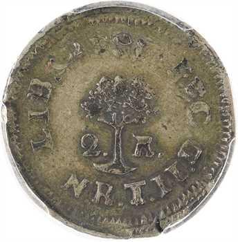 République d'Amérique centrale (Guatemala), 2 réaux, 1825 Tegucigalpa, PCGS VF35