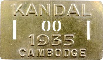 Indochine, Cambodge, Kandal, plaque de taxe n° 00, 1935