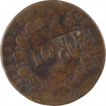 Constitution, 12 deniers FRANÇOIS, An 4, 1792 Lyon, contremarque ROI