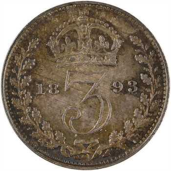 Royaume-Uni, Victoria, 3 pence, 1893 Londres