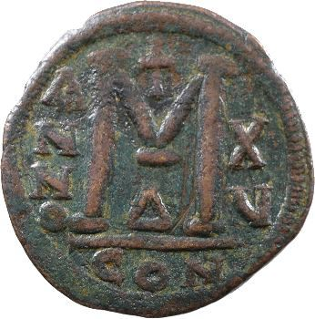 Justinien Ier, follis, Constantinople, 541-542