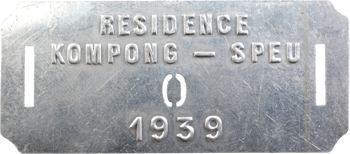 Indochine, Cambodge, Kompong-Speu (Résidence de), plaque de taxe n° 0, 1939