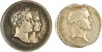 Premier Empire, mariage avec Marie-Louise, lot de deux médaillettes, 1810 Paris