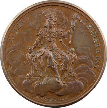 Louis XV, médaille du régiment de la Calotte ou satirique sur John LAW, c.1723