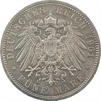 Allemagne, Prusse (royaume de), Guillaume II, 5 mark d'hommage, 1901 Berlin