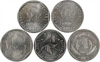 Ve République, 2 francs Semeuse, 1993 Pessac, joint 4 x 2 francs commémoratives
