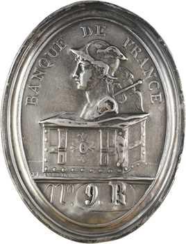 Banque de France, plaque de fonction d'un agent de recette, numérotée,  XIXe siècle