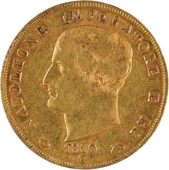 Italie, Napoléon Ier, 40 lire tranche en creux, 1810 Milan