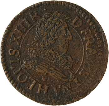 Louis XIII, double tournois 1er type, 1632 La Rochelle
