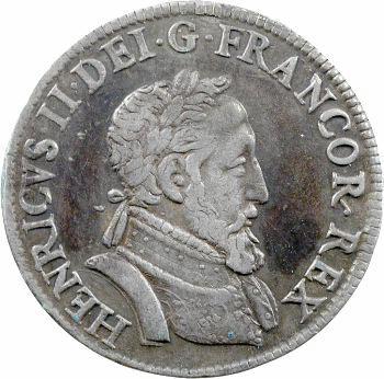 Henri II, demi-teston frappé au moulin de Paris, 4e type, 1554