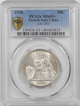 Indochine, 50 centièmes, 1936 Paris, PCGS MS65+