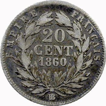 Second Empire, 20 centimes tête nue, 1860 Strasbourg