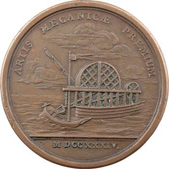 Bouvier (Pierre), le bateau à roues de Pierre Bouvier, par J.-C. Roëttiers, 1734 Paris