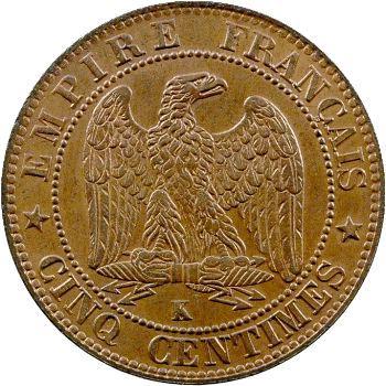Second Empire, cinq centimes tête nue, 1853 Bordeaux