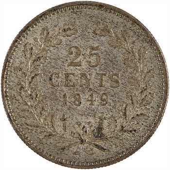 Pays-Bas, Guillaume II, 25 cents, 1849