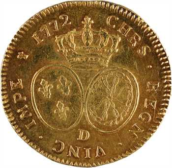 Louis XV, double louis d'or au bandeau, 1772 Lyon