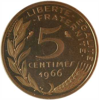 Ve République, piéfort de 5 centimes Lagriffoul, 1966 Paris