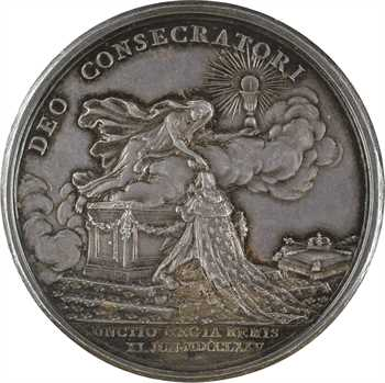 Louis XVI, sacre à Reims le 11 juin 1775, par B. Duvivier, en argent, 1775 Paris