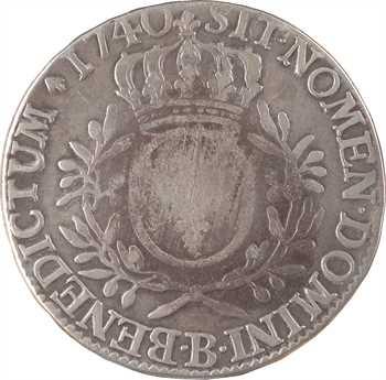Louis XV, écu aux branches d'olivier, 1740 Rouen