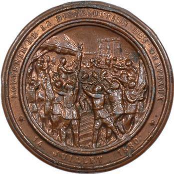 IIIe République, médaille maçonnique, souvenir de la distribution des drapeaux, 1880 Paris