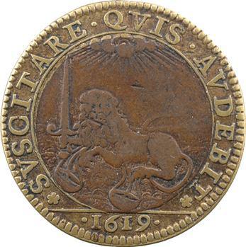 Conseil du Roi, Louis XIII, jeton bimétallique, 1619 Paris