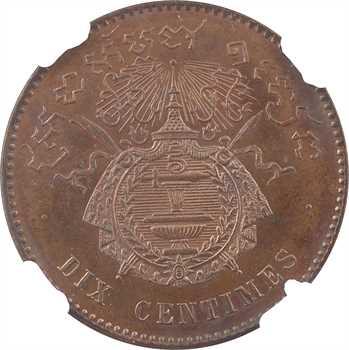 Cambodge, Norodom Ier, épreuve de dix centimes PROOF, 1860 Bruxelles, NGC PF64BN