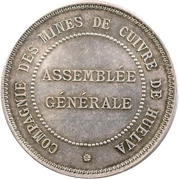 Espagne, jeton de présence à l'Assemblée générale des mines de cuivre de Huelva, s.d. (1860-1879)