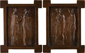 XIXe s., paire de fontes unifaces de style antique, Étude et Médecine, s.d
