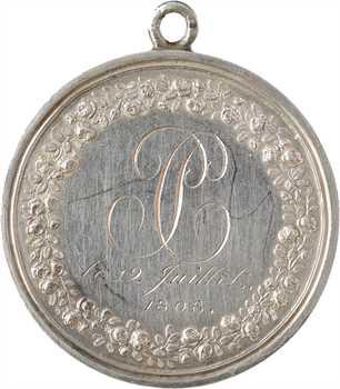 Premier Empire, prix de la bonne fille, par Gatteaux, transformée en médaille de mariage, 1808 Paris
