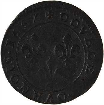 Louis XIII, double tournois, 1637 Vallée du Rhône