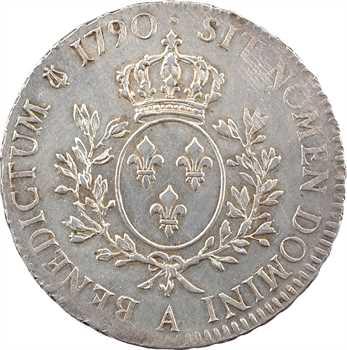 Louis XVI, écu aux rameaux d'olivier, 1790, 1er semestre, Paris