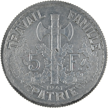 État français, essai double revers de 5 francs Pétain types I et II en zinc, tranche striée, 1941 Paris
