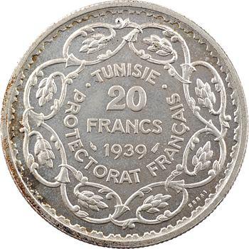 Tunisie (Protectorat français), Ahmed, essai 20 francs, AH 1358 – 1939 Paris