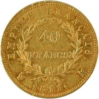 Premier Empire, 40 francs Empire, 1811 Paris, lettre sur le coq