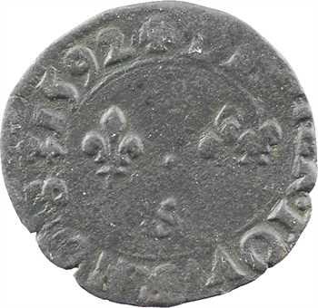 Charles X, denier tournois, 1592 Troyes