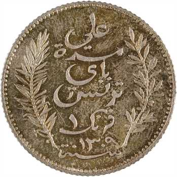 Tunisie, Protectorat français, Ali, Bey, 1 franc, 1892 Paris