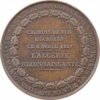 Algérie, Chemins de fer décrétés, l'Algérie reconnaissante, par Bovy, petit module, 1857 Paris