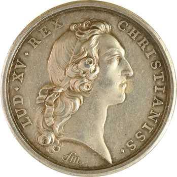 Louis XV/Premier Empire, second mariage du Dauphin avec Marie-Josèphe de Pologne, détournée en médaille de mariage, 1747 (1806) Paris