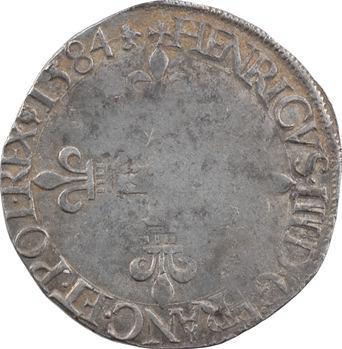 Henri III, quart d'écu croix de face, 1584 La Rochelle