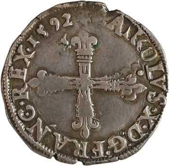 Charles X, quart d'écu, croix de face, 1592 Nantes