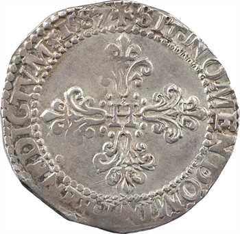 Henri III, demi-franc au col plat, 1587 Paris