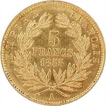 Second Empire, 5 francs tête nue, petit module, 1855 Paris, tranche striée